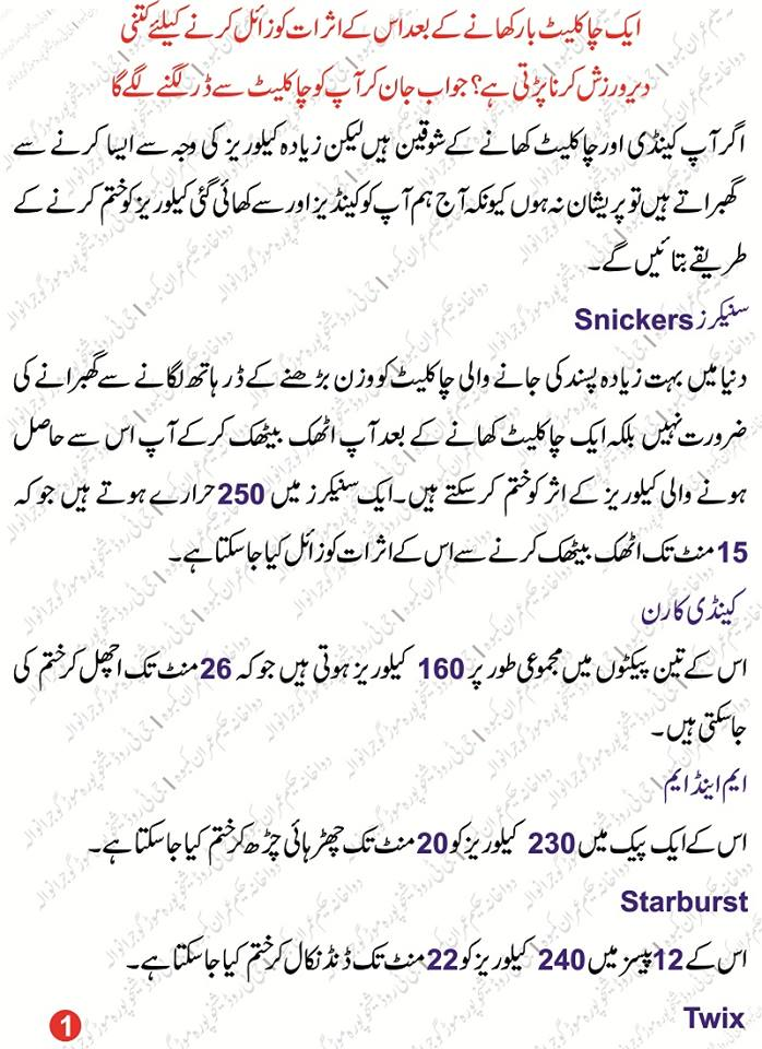 Calories in Milk Chocolate in urdu